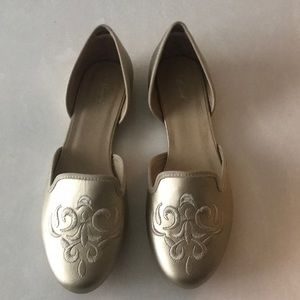 Wanted Gold Flat Shoes